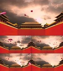 古典中国风皇宫宫殿花瓣飞舞l图片