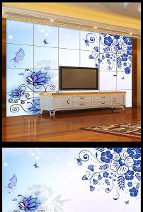 青花欧式花纹电视背景墙壁纸壁