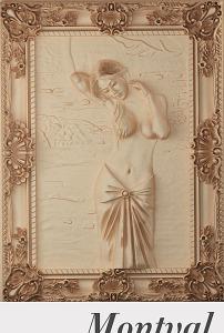 欧式现代浴女图浮雕玄关背景墙