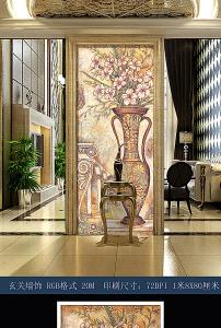 欧式花草玄关壁画