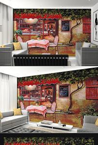 复古小镇街景咖啡厅油画背景墙图片