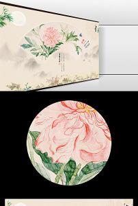 新中式简约大气扇形牡丹花开富图片